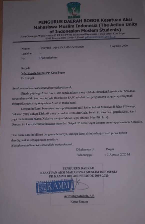 Surat, KAMMI, Bogor, Xclusive
